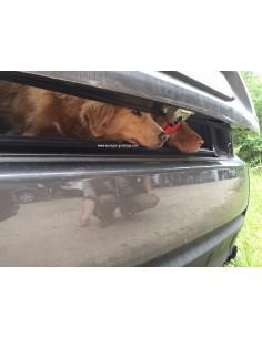 Openstaande klep genoeg ventilatie voor de honden en afgesloten