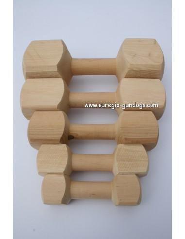Houten apporteerblokken van 150 tot  ca. 1000 gram